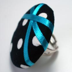 Cocktail Ring - Blue Polka - Extra Large Button